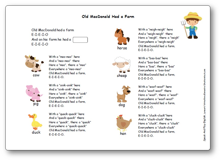 Old MacDonald Had a Farm Paroles en anglais