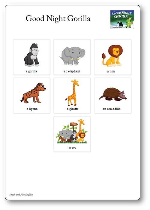 good night gorilla activités : petites cartes jeux de mémoire à imprimer