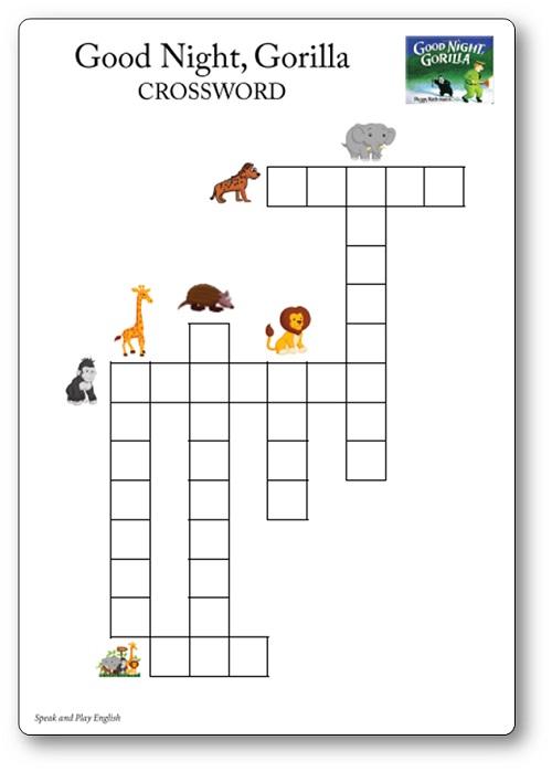 good night gorilla activités à imprimer : les mots croisés