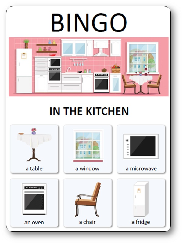 Loto du mobilier de la maison : in the kitchen, loto maison anglais