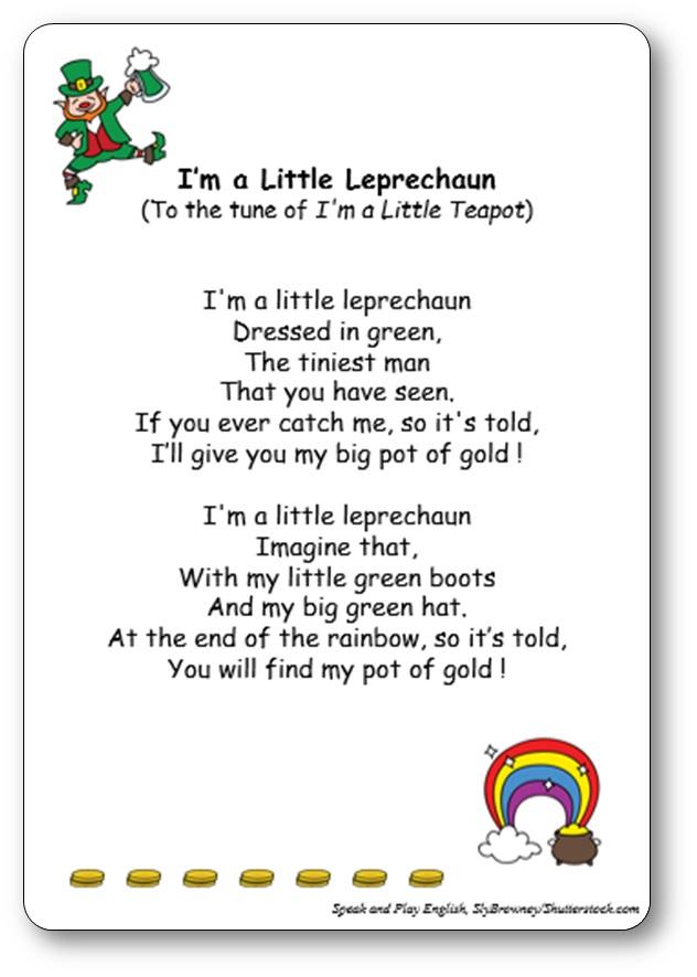 Comptine pour la Saint Patrick I'm a Little Leprechaun