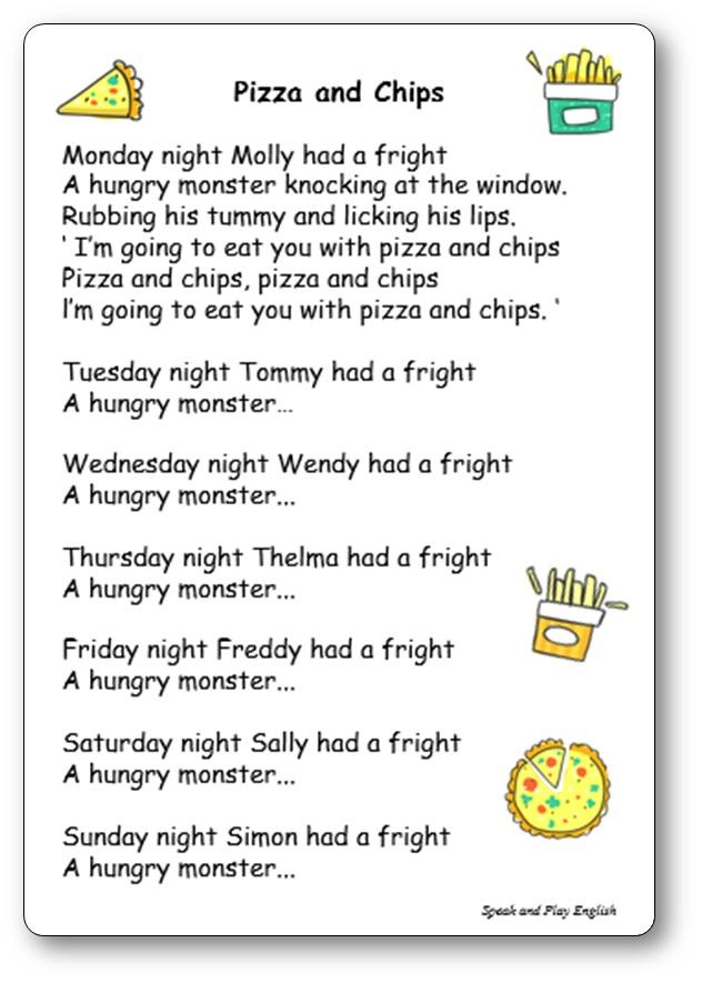 Pizza and Chips - Comptine en anglais pour apprendre les jours de la semaine