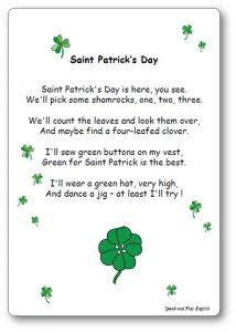 Poème Saint Patrick's Day