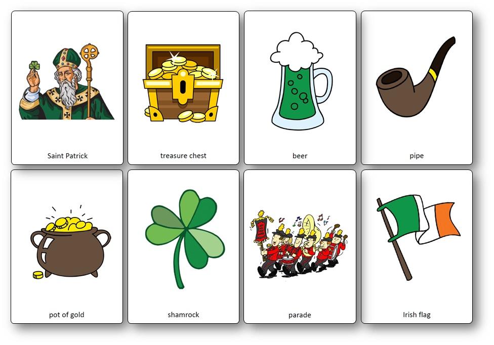 Flashcards de la Saint Patrick en anglais