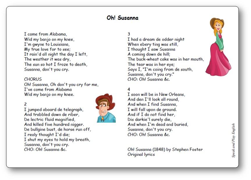 Oh! Susanna Version originale de Stephen Foster, chanson oh susanna anglais