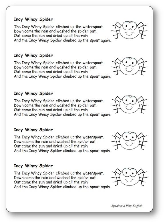 Paroles pour le cahier de la chanson Incy Wincy Spider