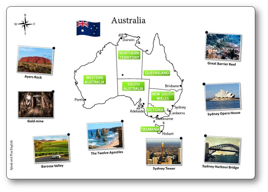 Carte de l'Australie illustrée, carte de l'Australie en anglais