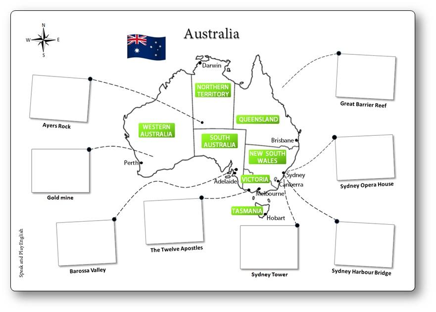 carte de l 39 australie illustr e conna tre la g ographie australienne. Black Bedroom Furniture Sets. Home Design Ideas