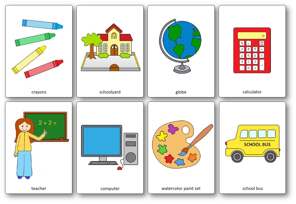 Flashcards sur le matériel de classe en anglais