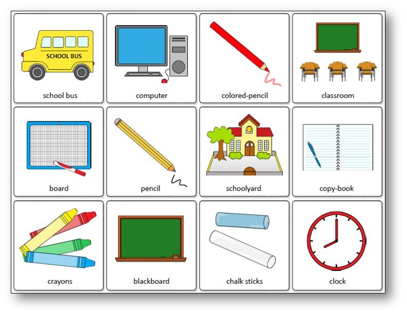 Jeu de mémory des outils de la classe en anglais