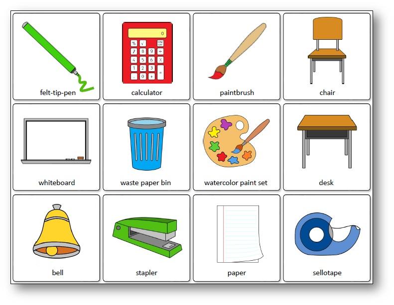 Jeu de mémoire des outils de la classe en anglais