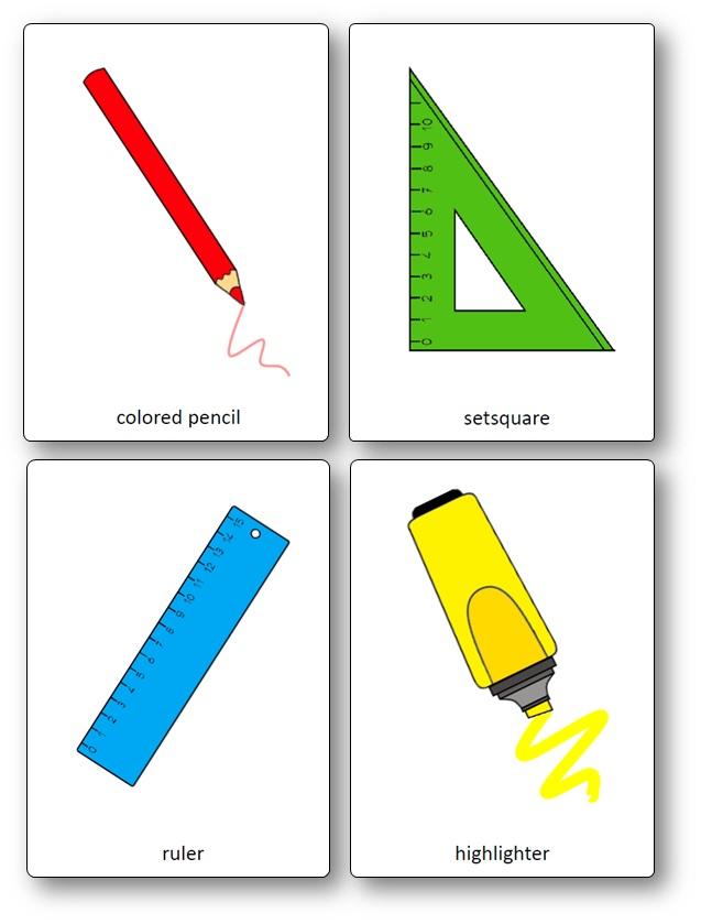 Flashcards sur les fournitures scolaires en anglais