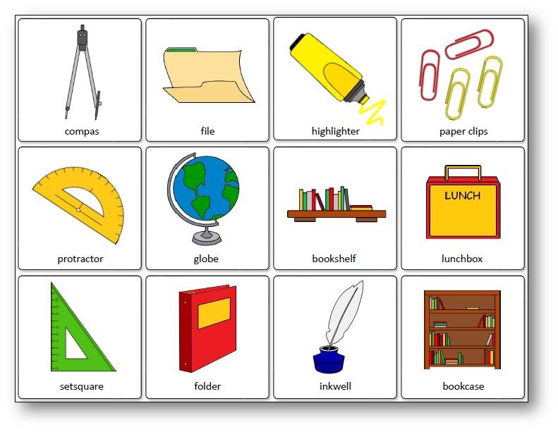 Jeu de mémory du matériel scolaire en anglais, outils de la classe en anglais