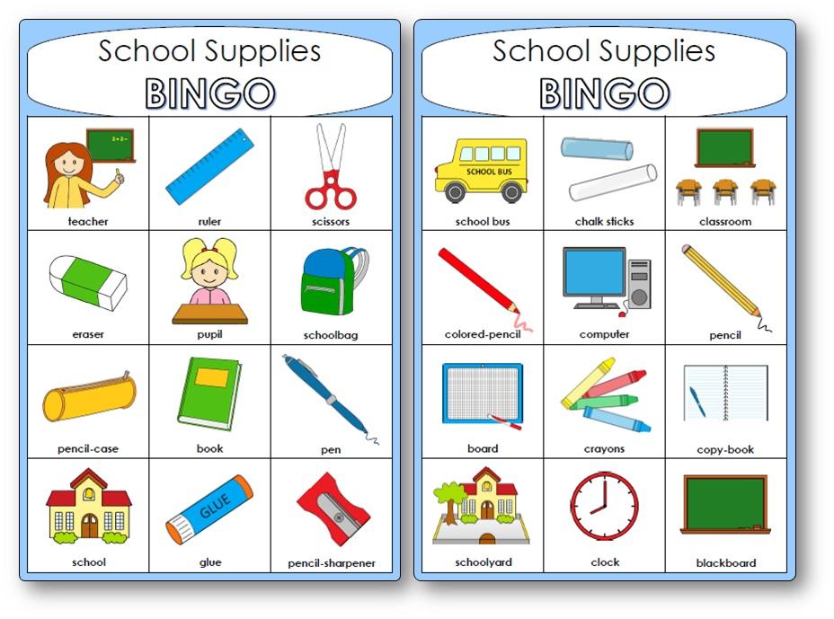Bingo du matériel scolaire en anglais, Bingo materiel scolaire anglais