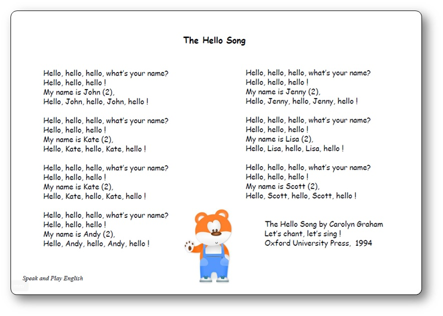 The Hello Song De Carolyn Graham