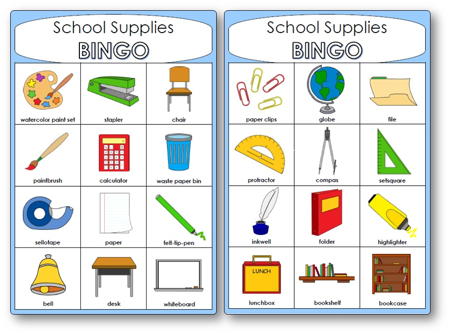 Bingo du matériel de classe en anglais, bingo matériel de classe