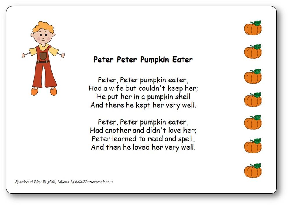 comptine peter peter pumpkin eater, comptine en anglais pour Halloween