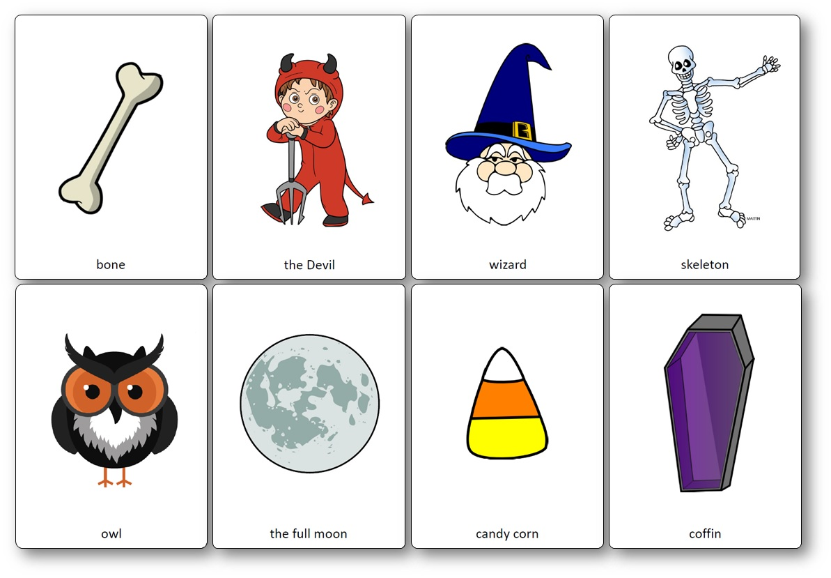 flashcards halloween CE1 CE2 CM1 CM2, Flashcards d'Halloween en anglais