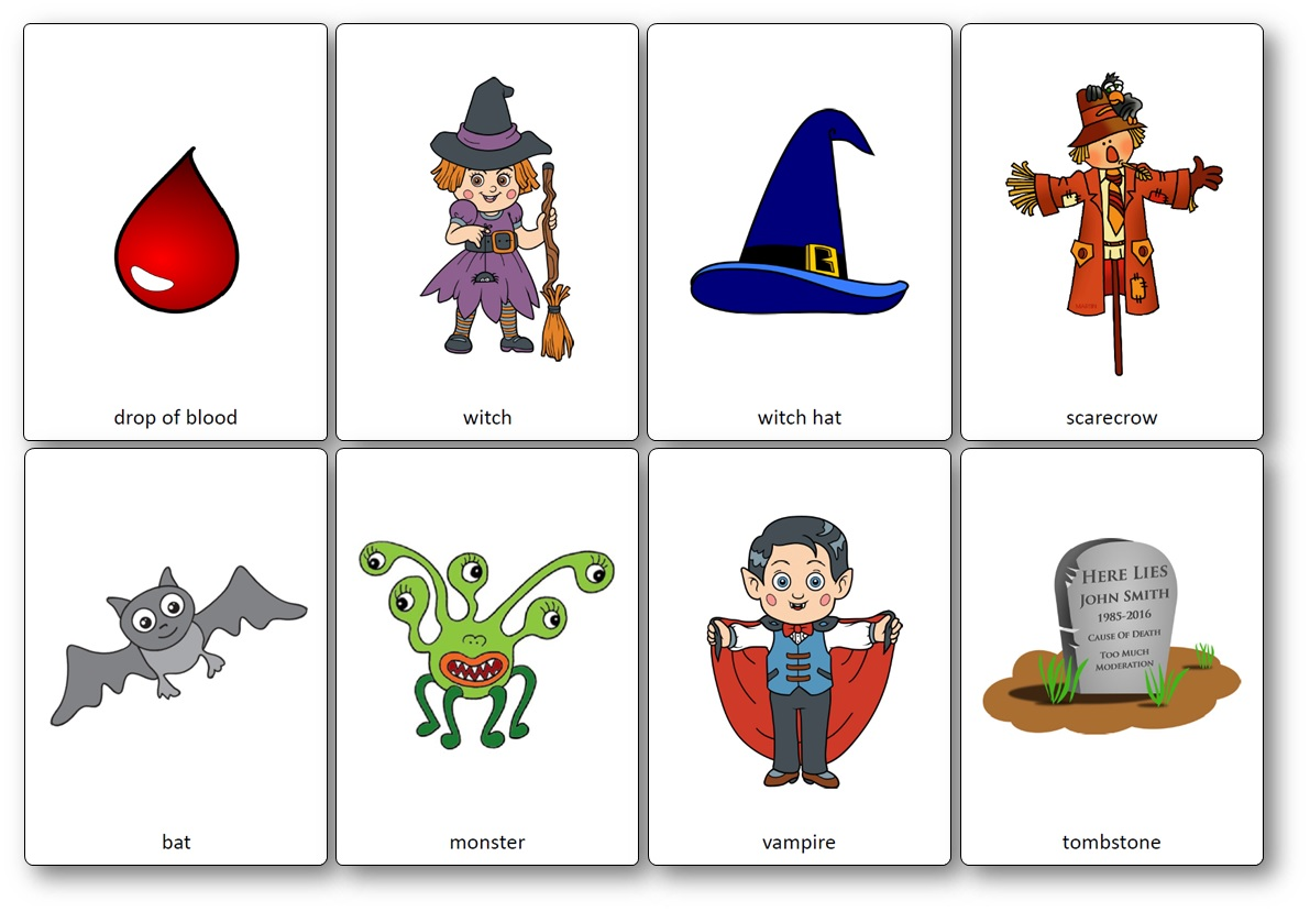 flashcards halloween cycle 3, Flashcards d'Halloween en anglais