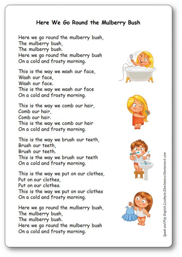 Comptine Here We Go Round the Mulberry Bush - Paroles de la chanson en anglais