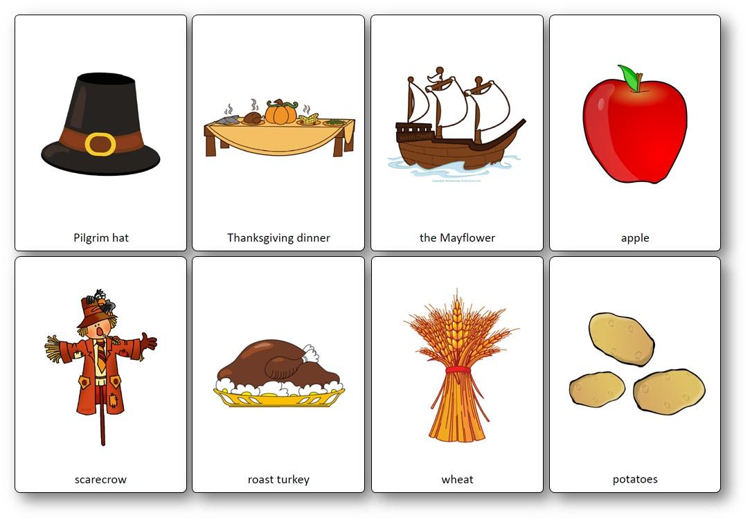Images de la fête de Thanksgiving à imprimer, Flashcards Thanksgiving anglais