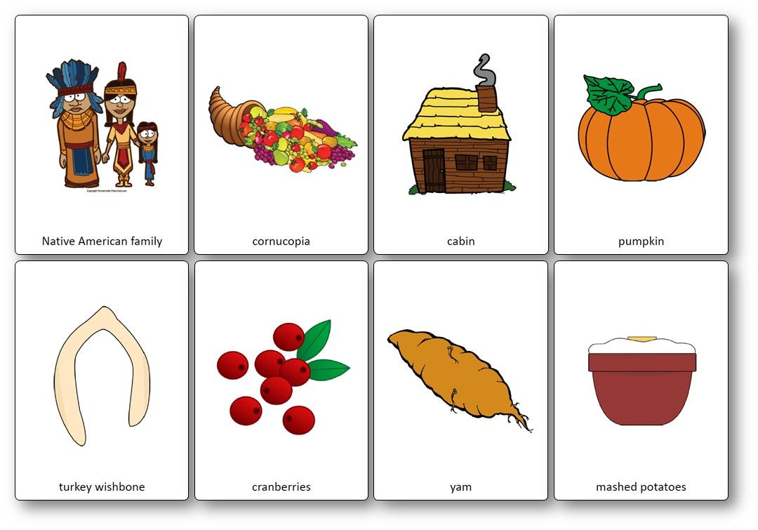 Imagier mots en rapport avec Thanksgiving, Flashcards Thanksgiving anglais