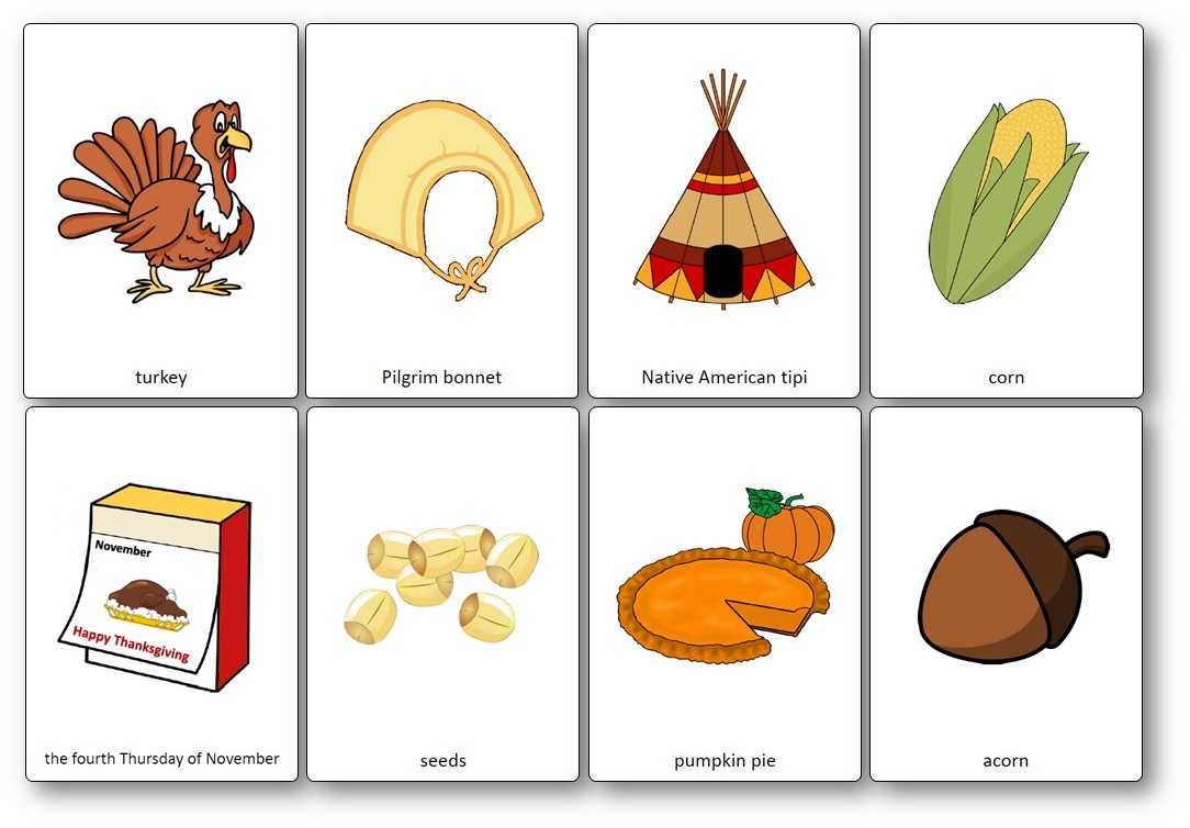 Mots anglais Thanksgiving Flashcards