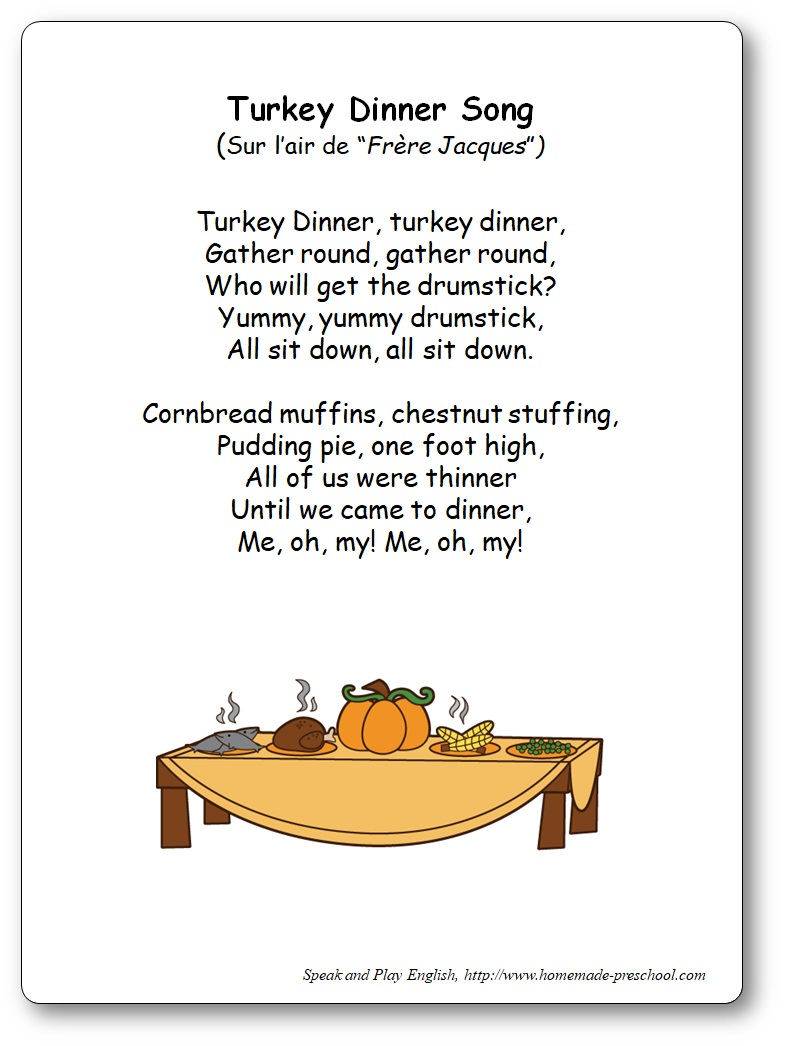 Turkey Dinner Song Frere Jacques - Comptine en anglais pour Thanksgiving - turkey dinner song frere jacques