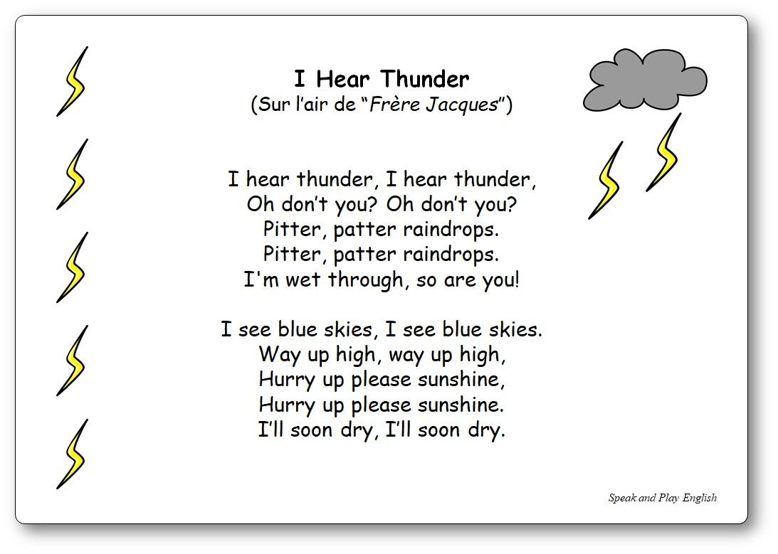 I Hear Thunder - Paroles de la Comptine sur la météo en anglais - chanson i hear thunder