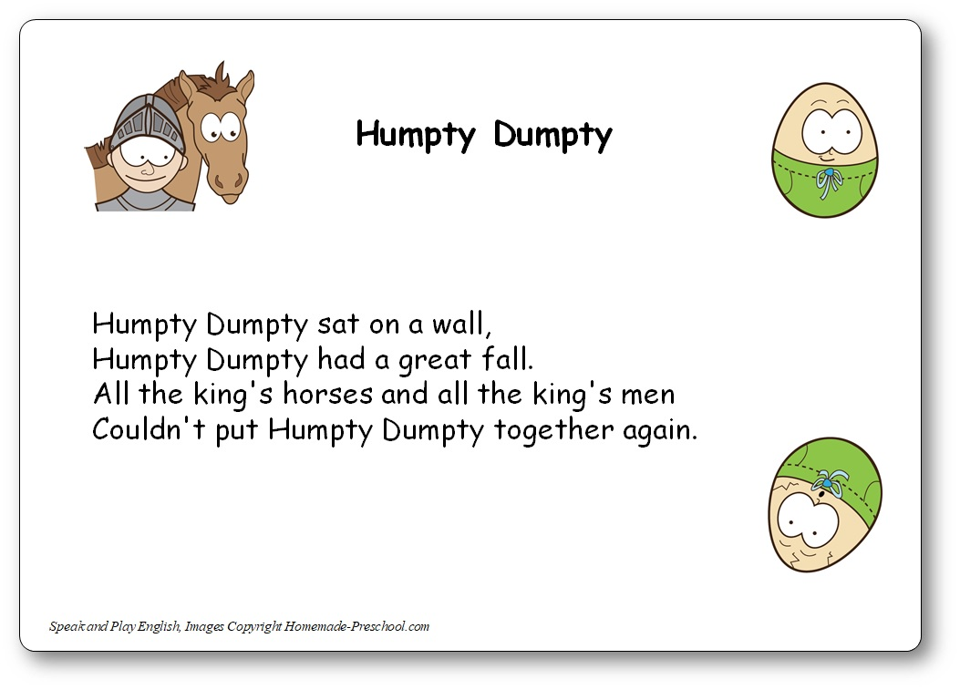 humpty dumpty chanson, Paroles de la comptine Humpty Dumpty en anglais et traduction en français