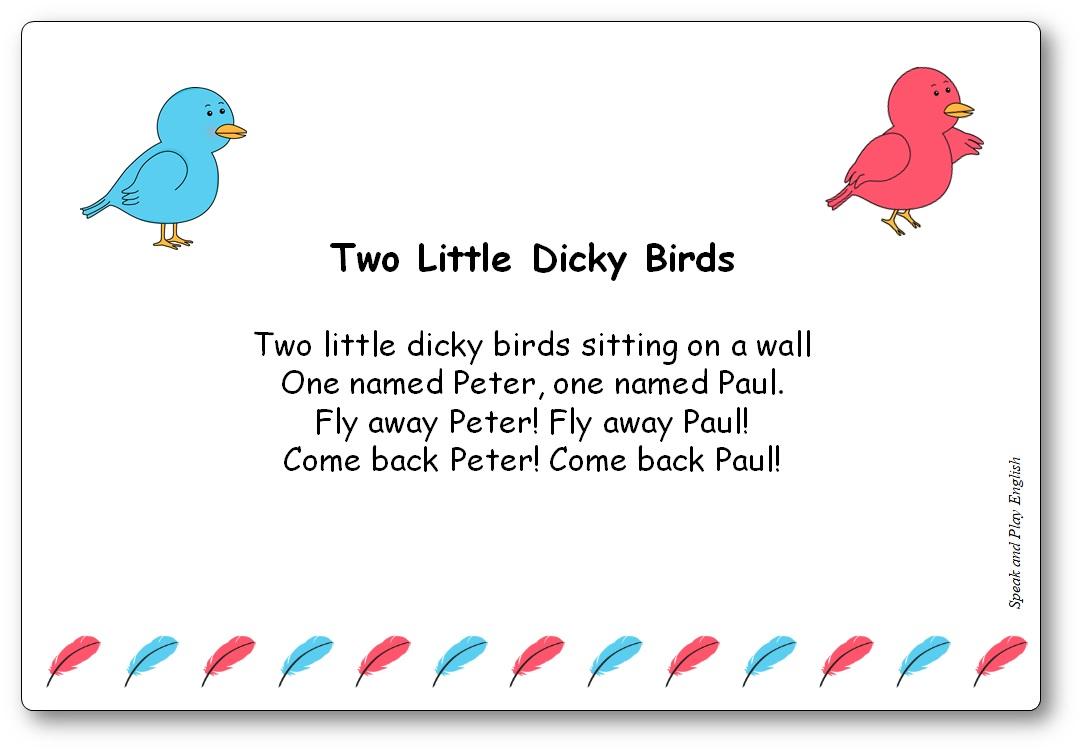 Comptine Two Little Dicky Birds Paroles en anglais et ef en français