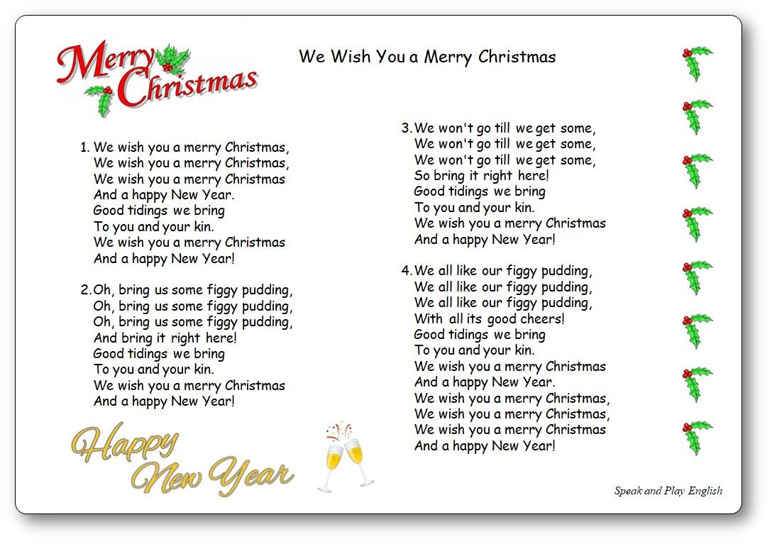 Paroles We Wish You a Merry Christmas en français