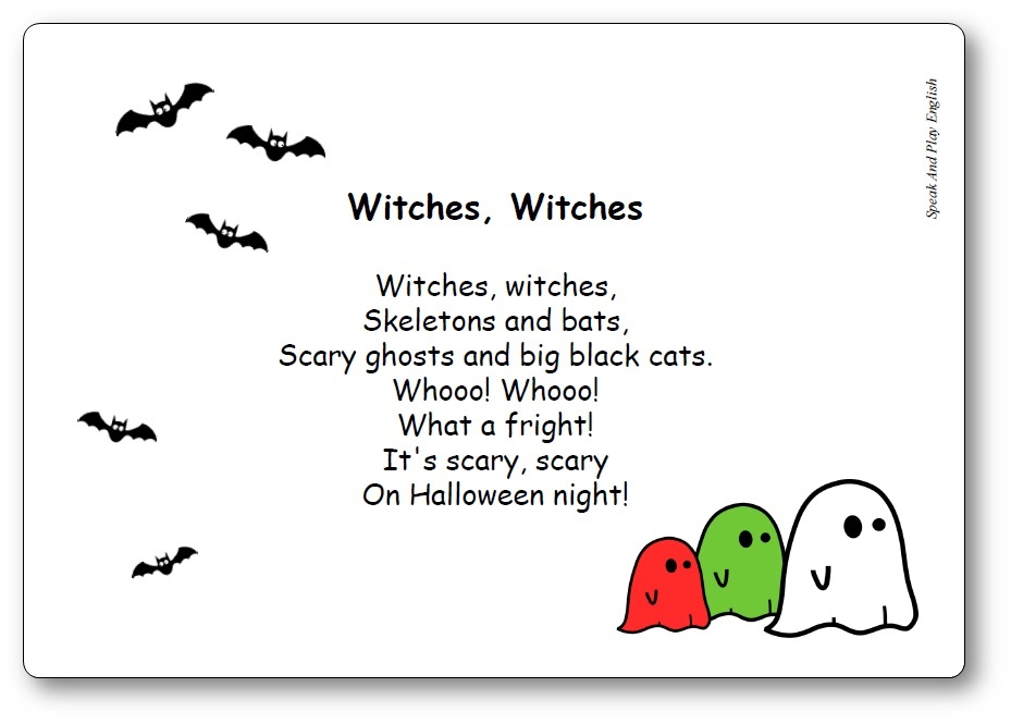 comptine Witches Witches Skeletons and Bats paroles