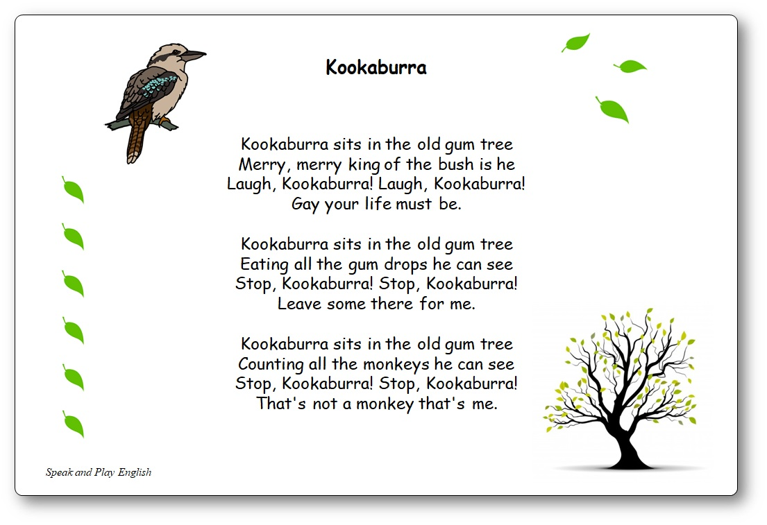 Paroles de la chanson australienne Kookaburra