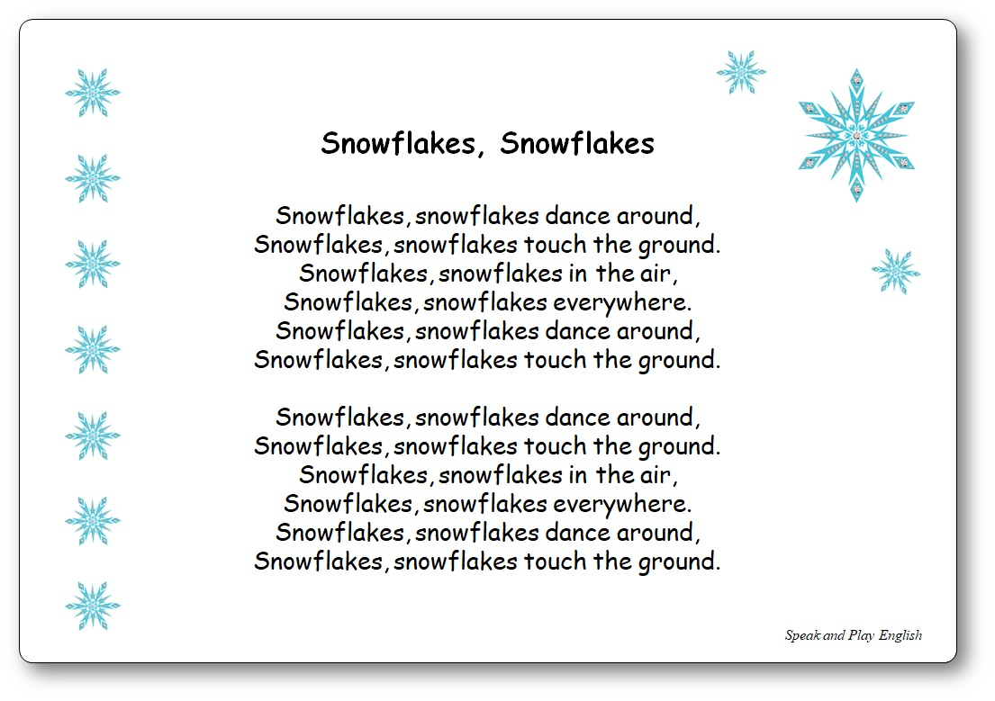 Comptine Snowflakes Snowflakes Dance Around