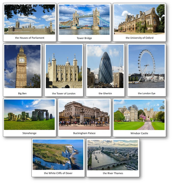 flashcards Rroyaume-Uni, Flashcards Monuments celebres en Angleterre et Londres a telecharger