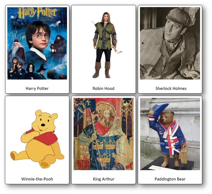 Images Flashcards Personnages Fictifs Royaume-Uni
