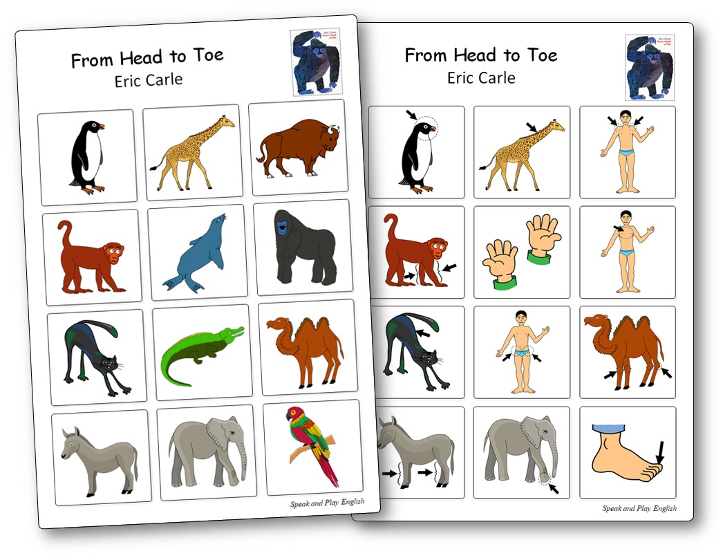 Jeu de mémoire From Head to Toe d'Eric Carle, From Head to Toe séquence