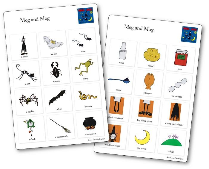 Cartes activités pour mener une séquence pour l'exploitation de l'album Meg and Mog