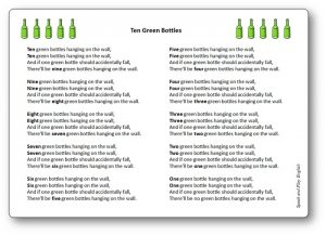 Paroles chanson pour compter en anglais Ten Green Bottles