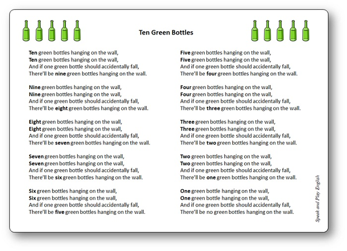 Paroles de la comptine Ten Green Bottles, Ten Green Bottles paroles