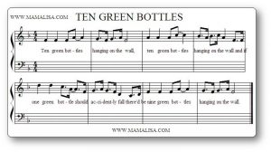 Partition de la comptine Ten Green Bottles