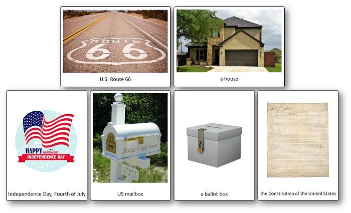 Imagier des symboles et emblèmes des Etats Unis d'Amérique