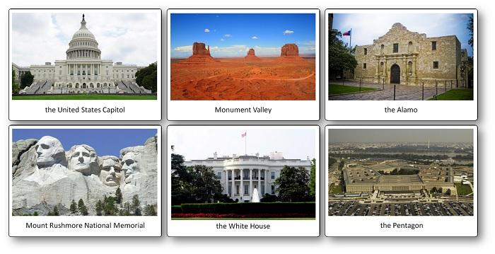 flashcards des monuments et paysages célèbres des Etats-Unis d'Amérique
