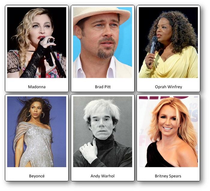 Imagier des personnes célèbres des Etats-Unis d'Amérique, acteurs et chanteurs