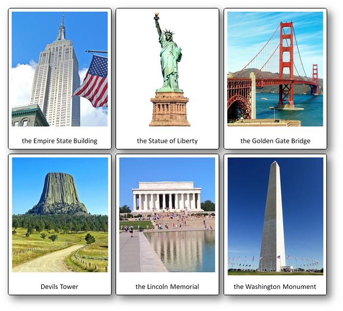 Images flashcards sur les états-Unis d'Amérique, les monuments et lieux célèbres