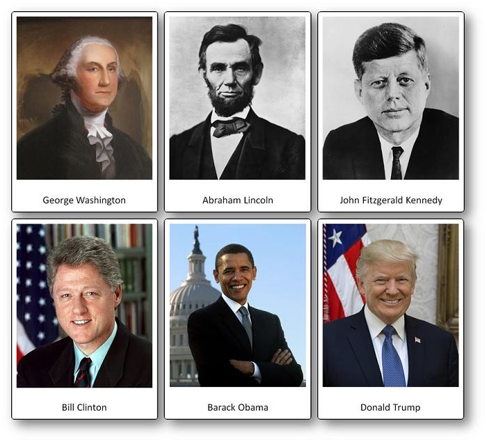 flashcards Etats-Unis, images des principaux présidents de Etats-Unis