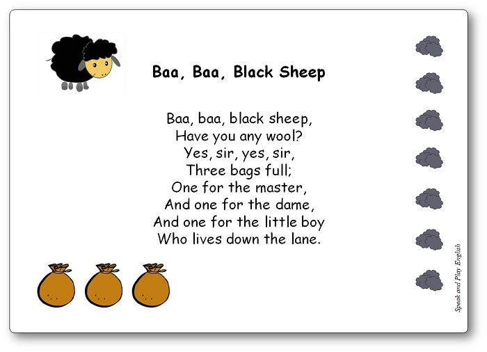 Paroles de la comptine Baa Baa Black Sheep en anglais, Baa Baa Black Sheep paroles