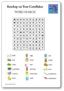 Ketchup on Your Cornflakes jeu de mots mêlés à imprimer gratuitement PDF
