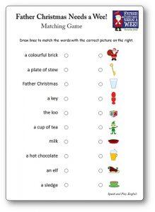 Jeu d'association Father Christmas Needs a Wee, activité Father Christmas Needs a Wee